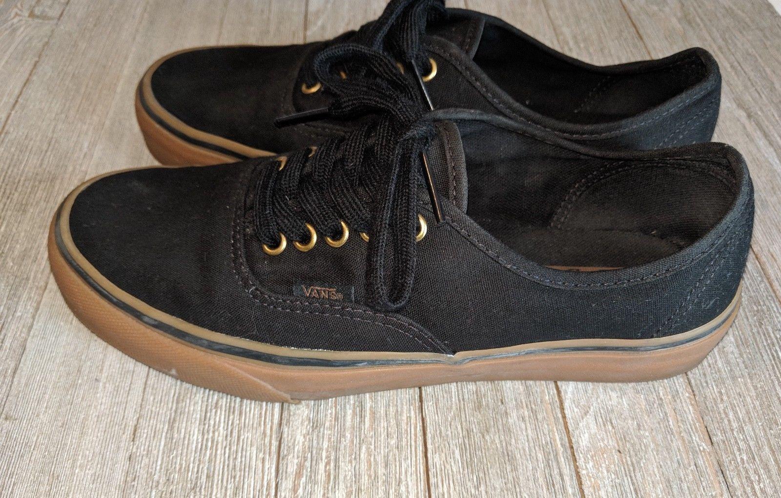 61098b0e0f Vans Authentic Black Gum Rubber Sole Skate Shoes MEN 7 WOMAN 8.5 Classics  Skater
