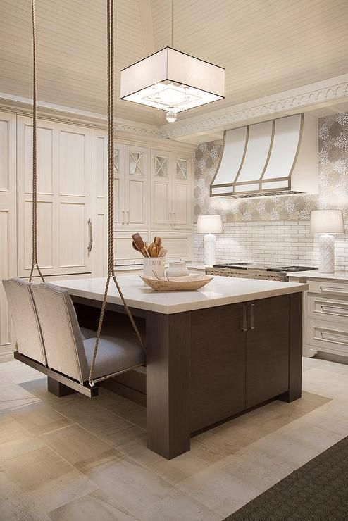 A White Beadboard Ceiling Is Accented With Black And Square Pendant Illuminating Brown Kitchen Island Topped Quartz Lined Gray