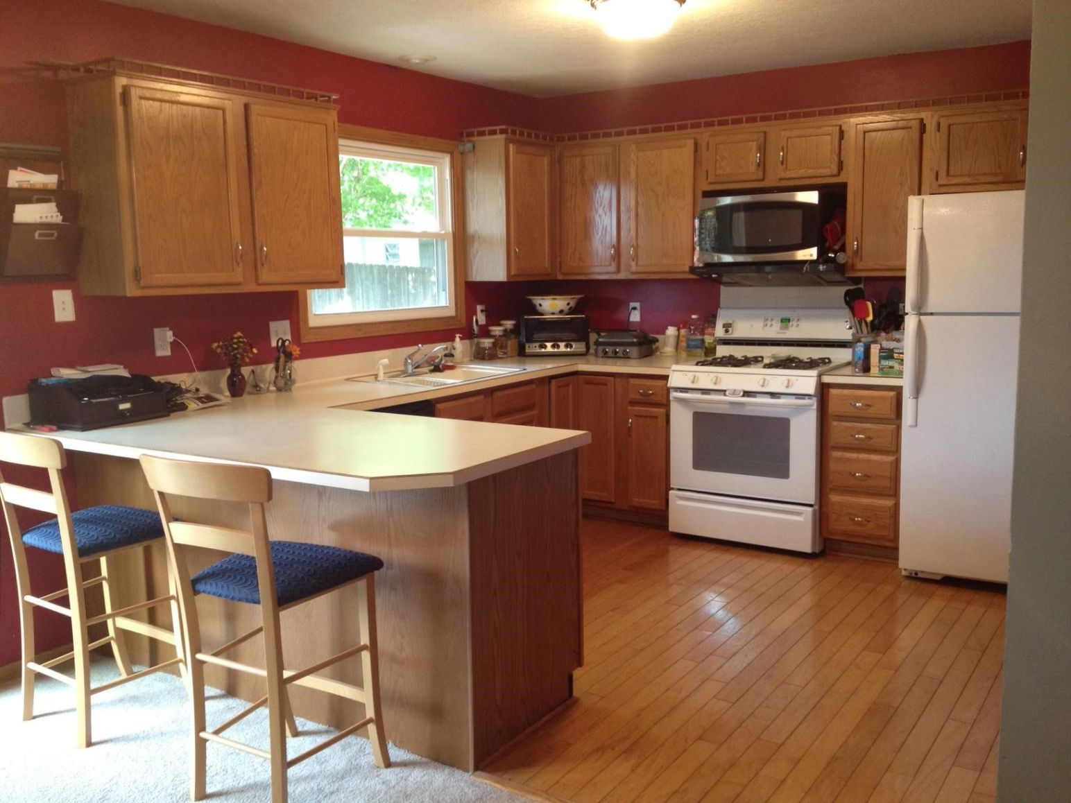 Splendent Paint Colors For Kitchens With Golden Oak Cabinets