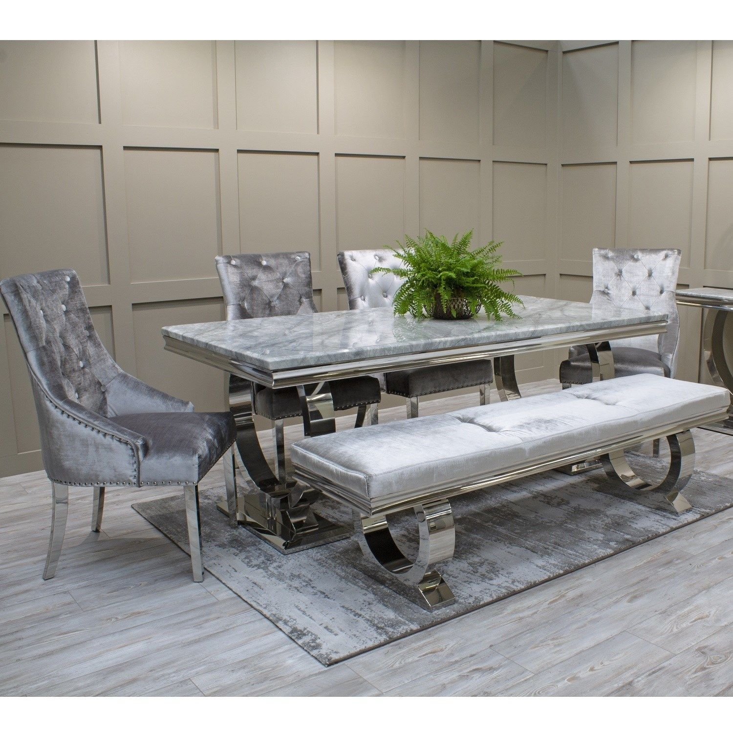 Grey Marble Mirrored Dining Table And Chair Set With Bench In Silver Grey Velvet Grey Dining Tables Dining Table Bench Seat Black Dining Room Sets