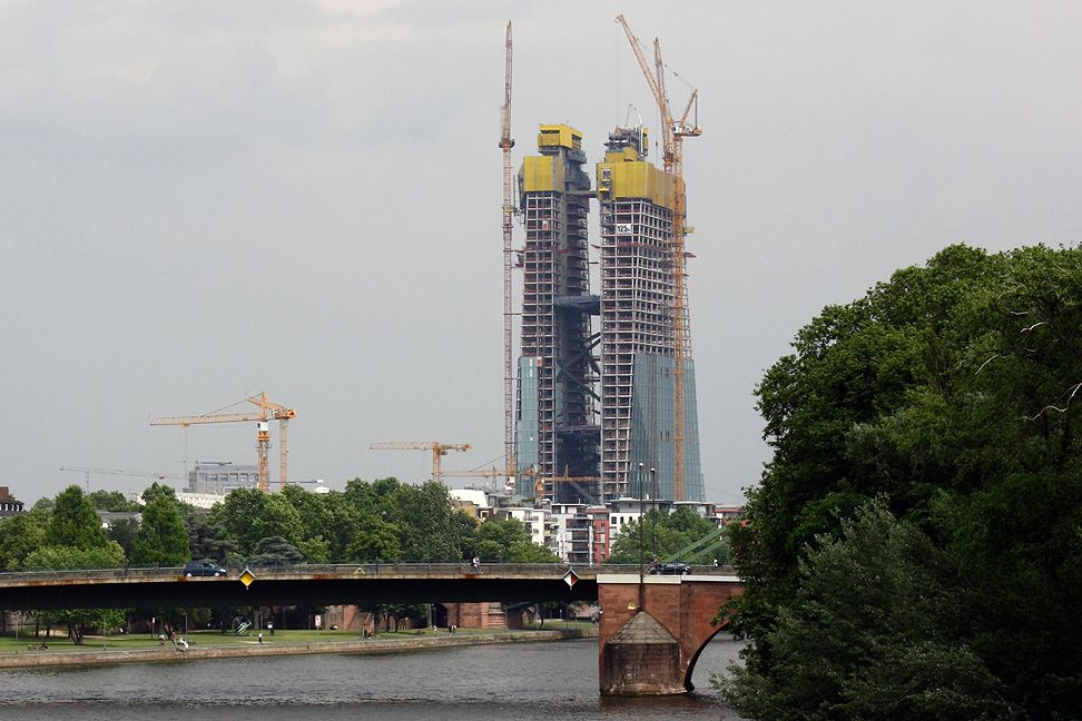 EZB European central bank headquarters frankfurt by Coop Himmelb(l)au architects, construction site on may 31 2012 as seen from eiserner steg bridge