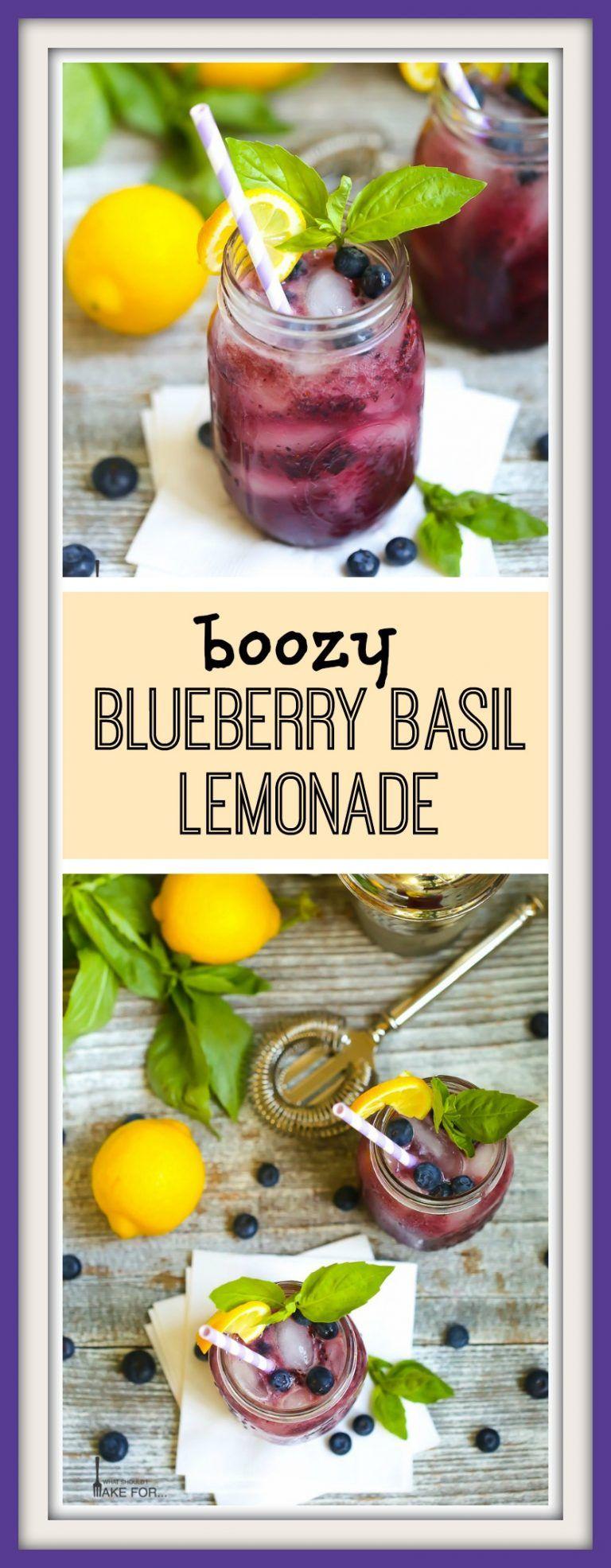 Boozy Basil Blueberry Lemonade #basillemonade