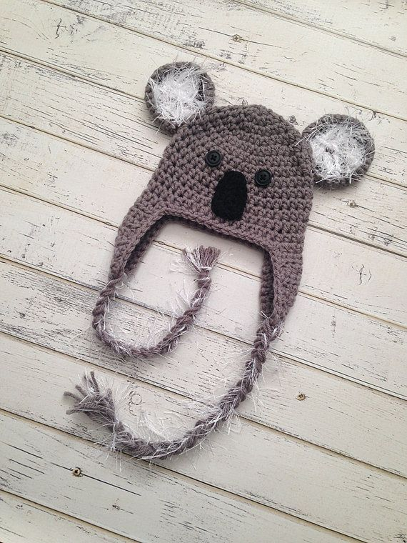 Crochet Koala Bear Hat Animal Photo Prop Baby by NewYarnCreations ...
