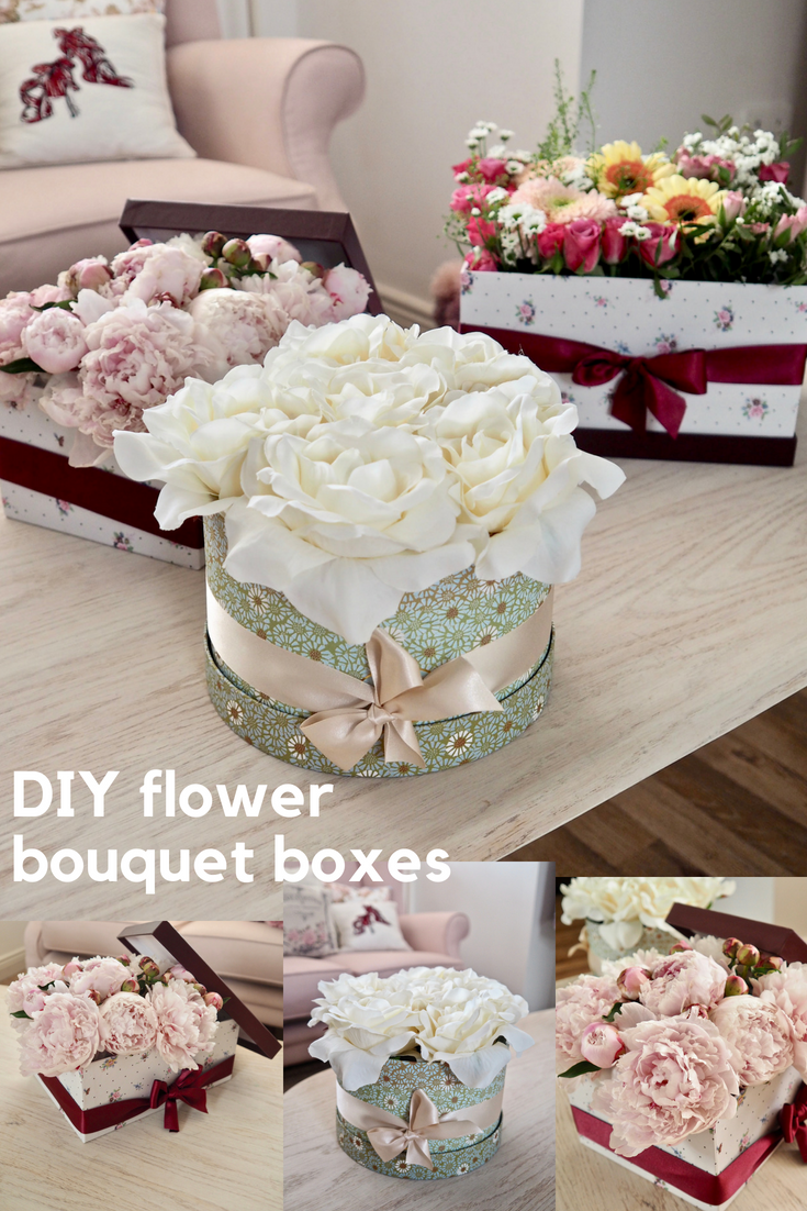 Diy flower bouquet box home sweet home pinterest diy flower diy flower bouquet box izmirmasajfo