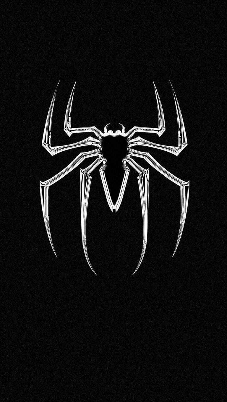 Black White Spiderman Logo Wallpaper IPhone