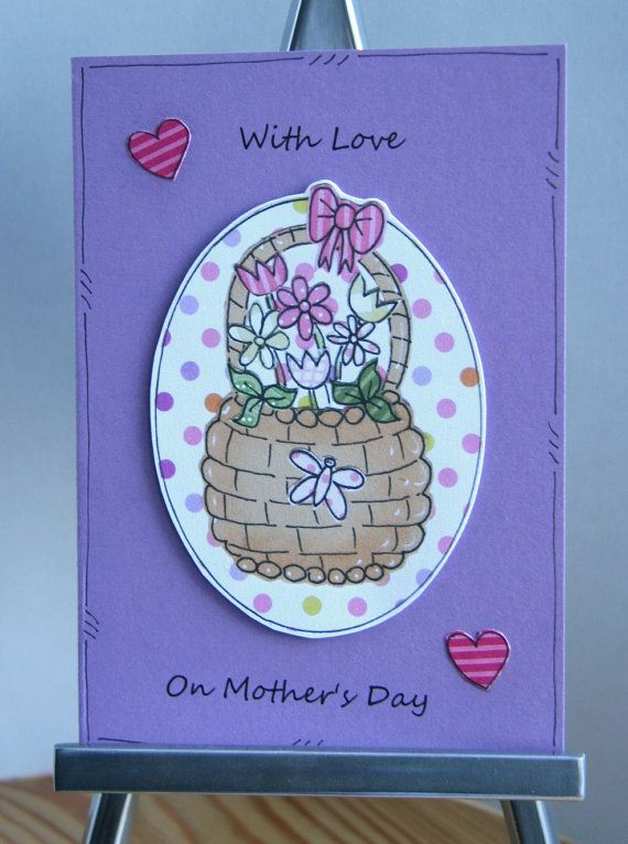 SALE With Love on Mother's Day - Spring Flower Basket Card