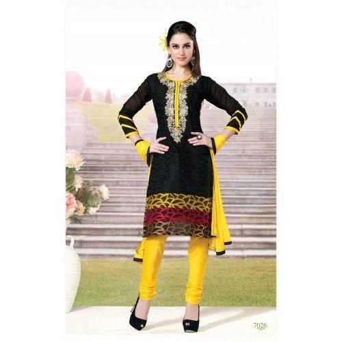 Elegant Designer Chanderi Cotton Embroidered Semi Stitched Suit D.NO S7026
