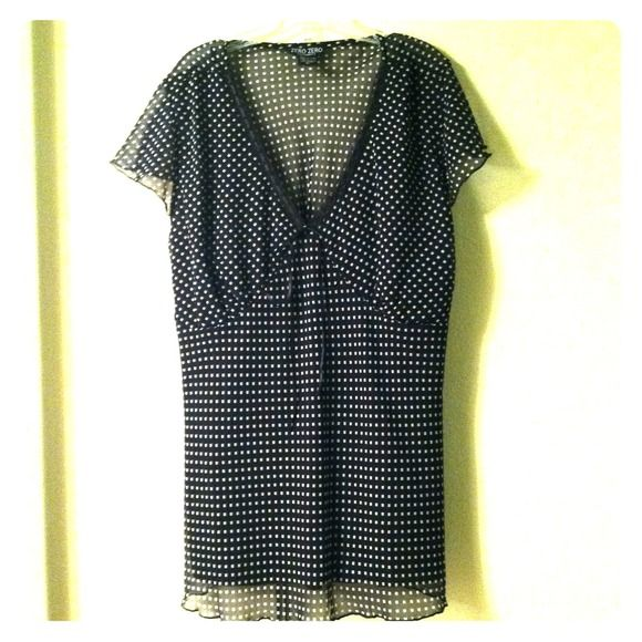 Cute Black & White Shirt with black Camisole. Sheer Blouse with black camisole. Tops Camisoles