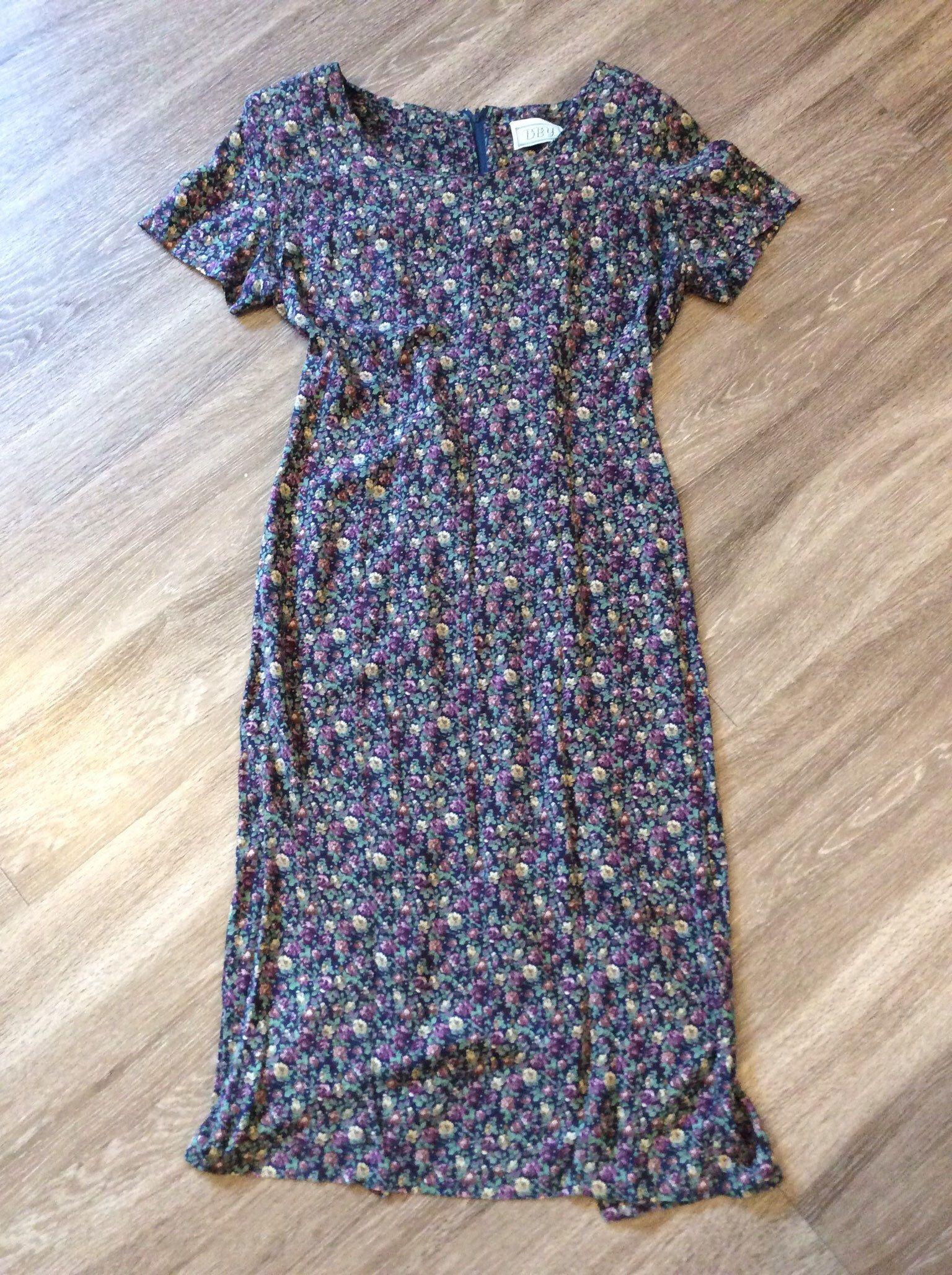 Patterned 90/'S Vintage DRESS Retro Viscose 90s dress