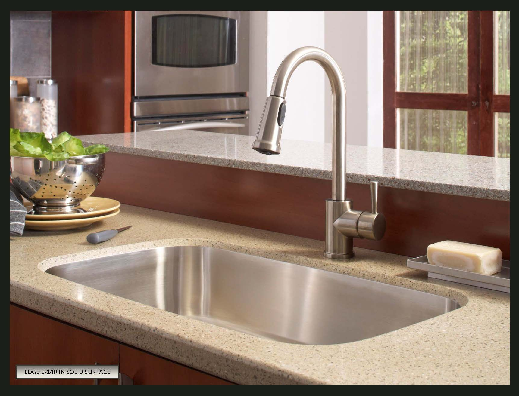 Stainless sink in a corian countertop google search for Stainless steel countertop with integral sink