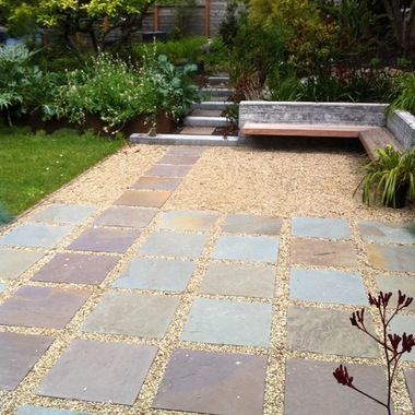 crushed rock patio ideas | ... bench, concrete board-form ...