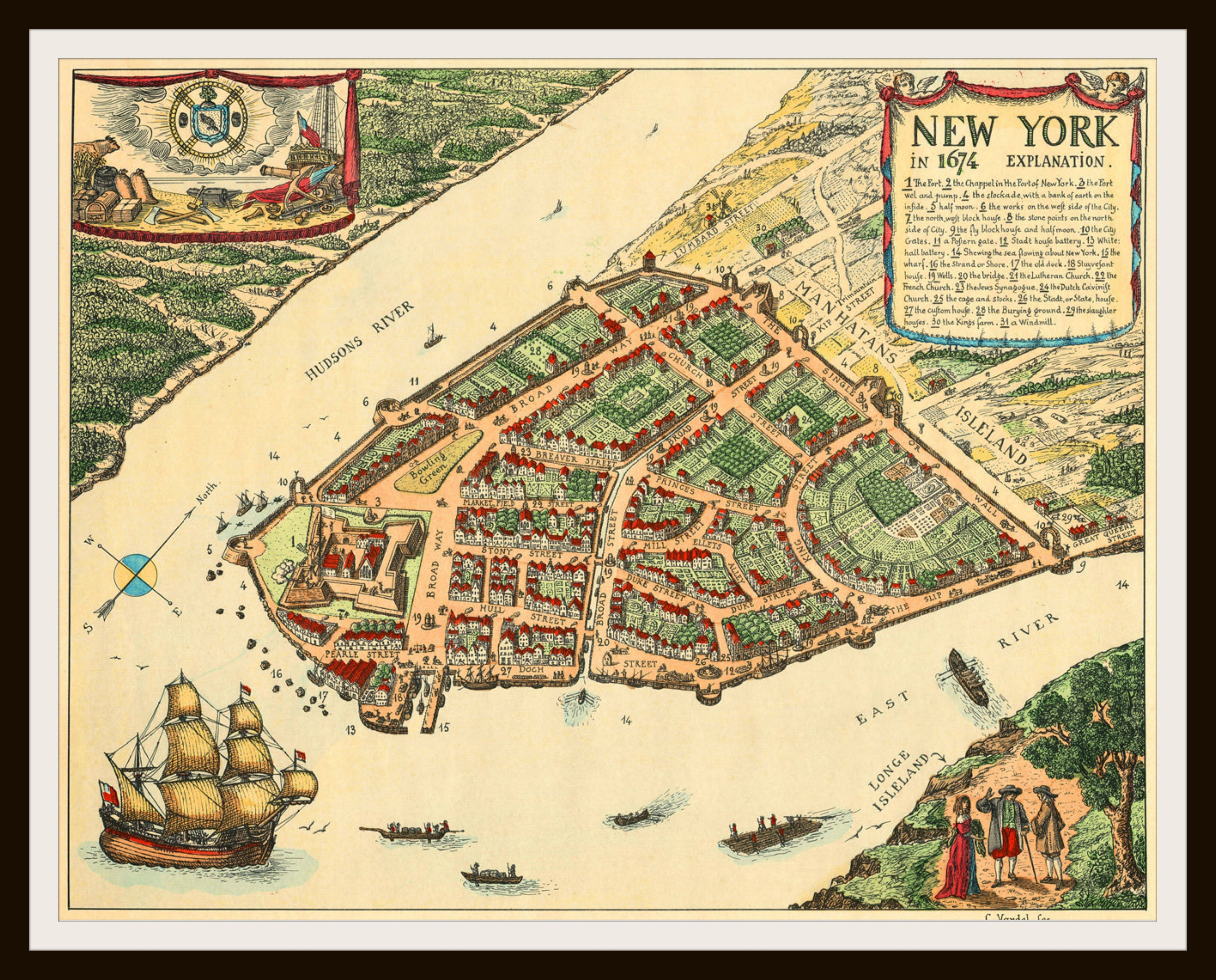 Printed Vintage New York City 1674 Poster Art Image Reproduction Sheet Wall Home Decor Unframed A Great Gift Idea For Your