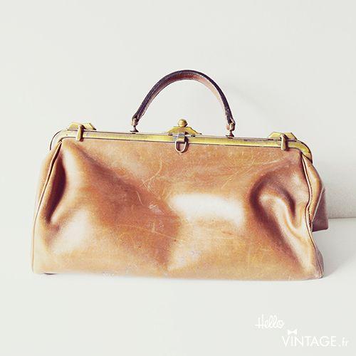 Sac à main 50's mode vintage doctor bag camel - Hellovintage shop