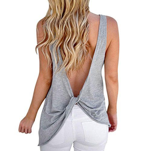 60e9e513b6b39b Tloowy Womens Sexy Backless Tank Tops Solid Color Workout Top Cute Open  Back Shirts Knotted Back Sleeveless Vest Tee (Gray