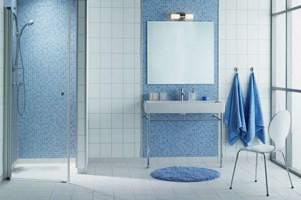 blaues badezimmer wandgestaltung mosaikfliesen | Mosaikfliesen bad ...