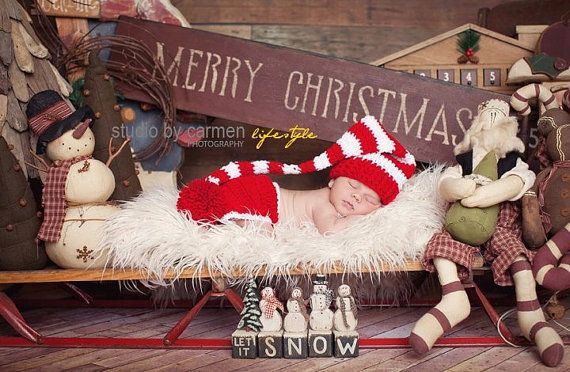 Christmas Santa Elf Hat and Diaper Cover Set Newborn Photography Prop Cherry Red and White