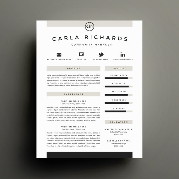 Modern Cover Letter Creative Resume Template And Cover Letter Template For Word  Diy