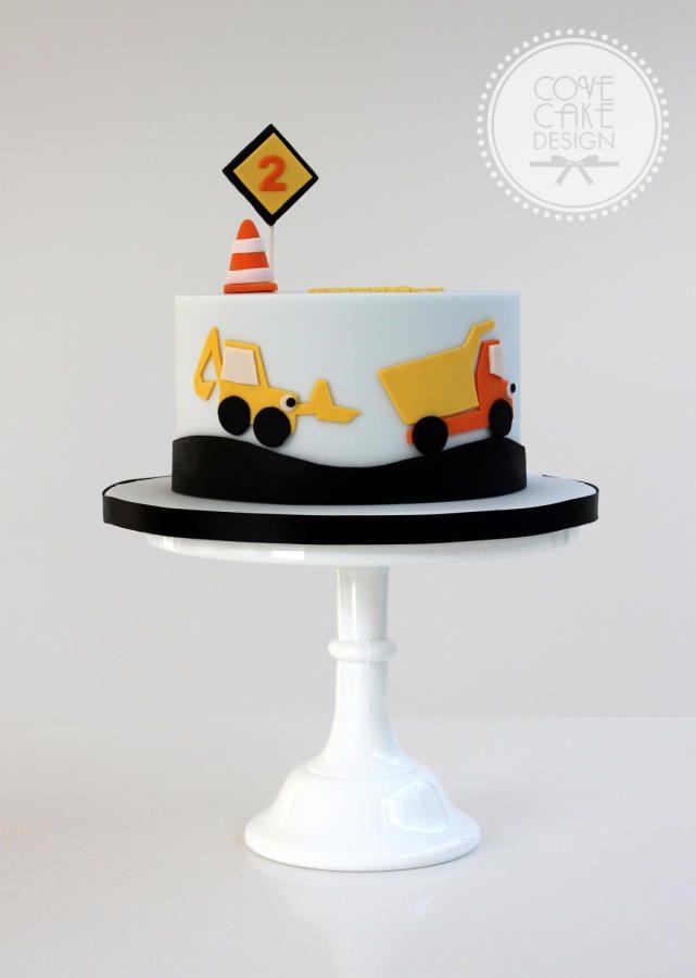 Little boys construction birthday cake Charlie 4th Birthday