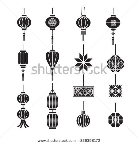 Chinese Lamp Lantern Vector Set Chinese Lamps Chinese Lights Vector