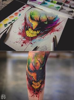 The Joker Watercolor Tattoo On Behance Watercolor Tattoo Geek