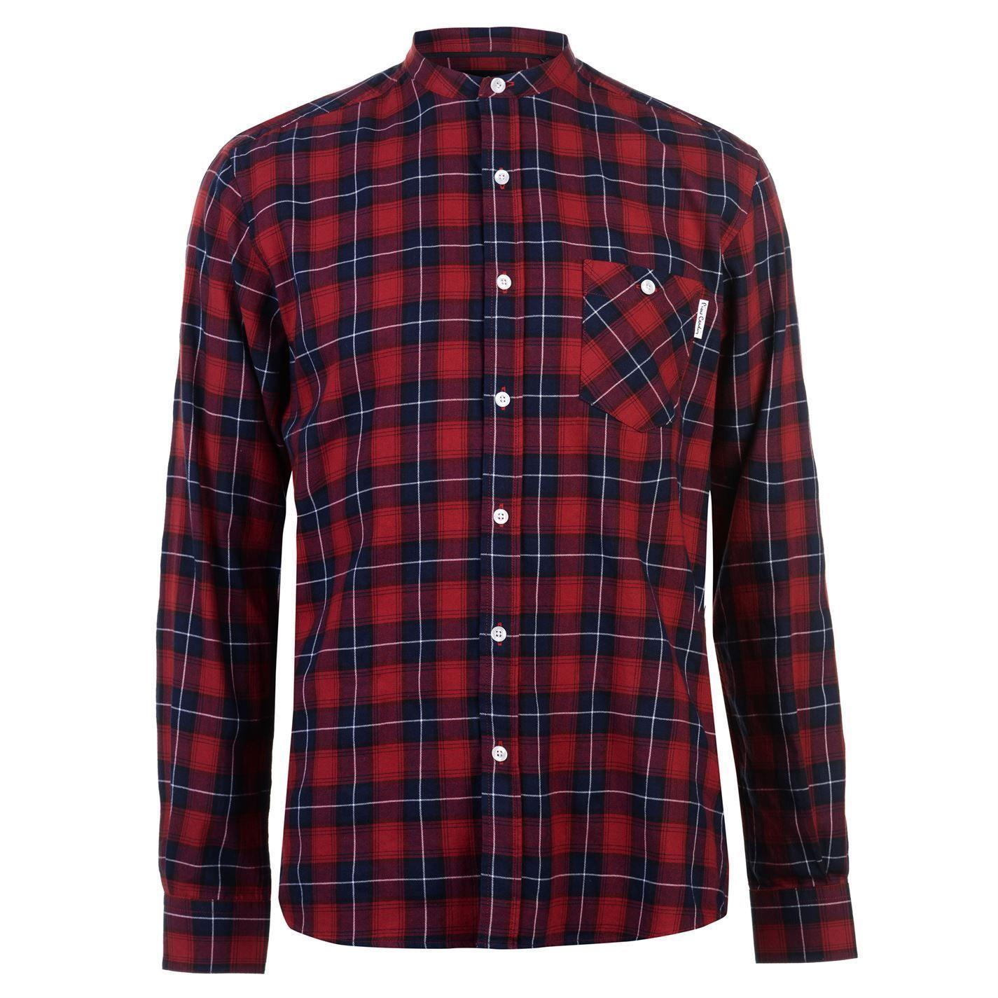Mandarin collar flannel  Pierre Automobiledin Grandad Collar Flannel Check Shirt Mens Gents