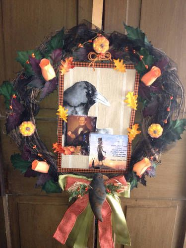 A tribute to Edgar Allen Poe and his literary contributions to American literature...Celebrate the season with this unique wreath available at pattymarthawreaths.com