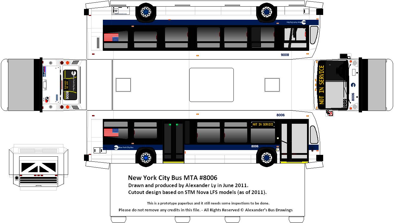 New York City Bus MTA Paper Model