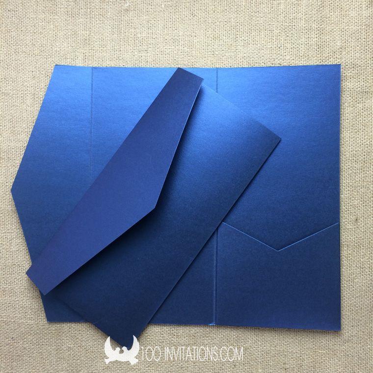 Blank Navy Blue Pocket Invitations Pocket Invitations Wedding