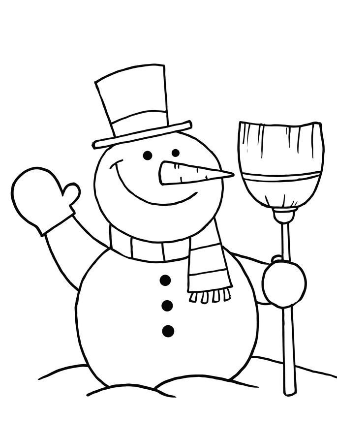 Snowman Color Pages Embroidery Patterns Pinterest