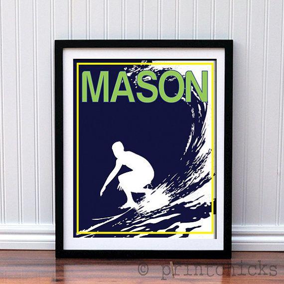 Surfer Poster  Custom Poster Gift  Boys Room Decor  by PrintChicks, $35.00