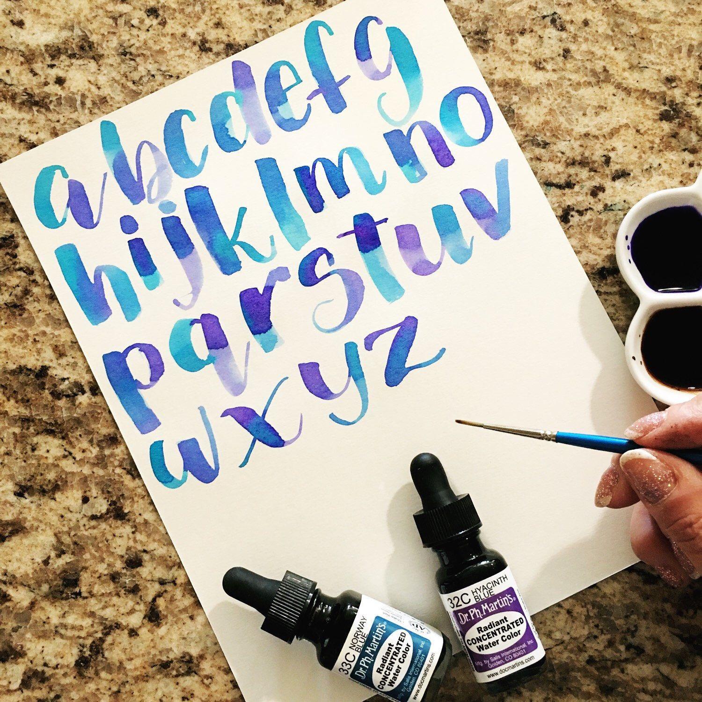Watercolor Brush Lettering Alphabet Amp Drills Worksheets