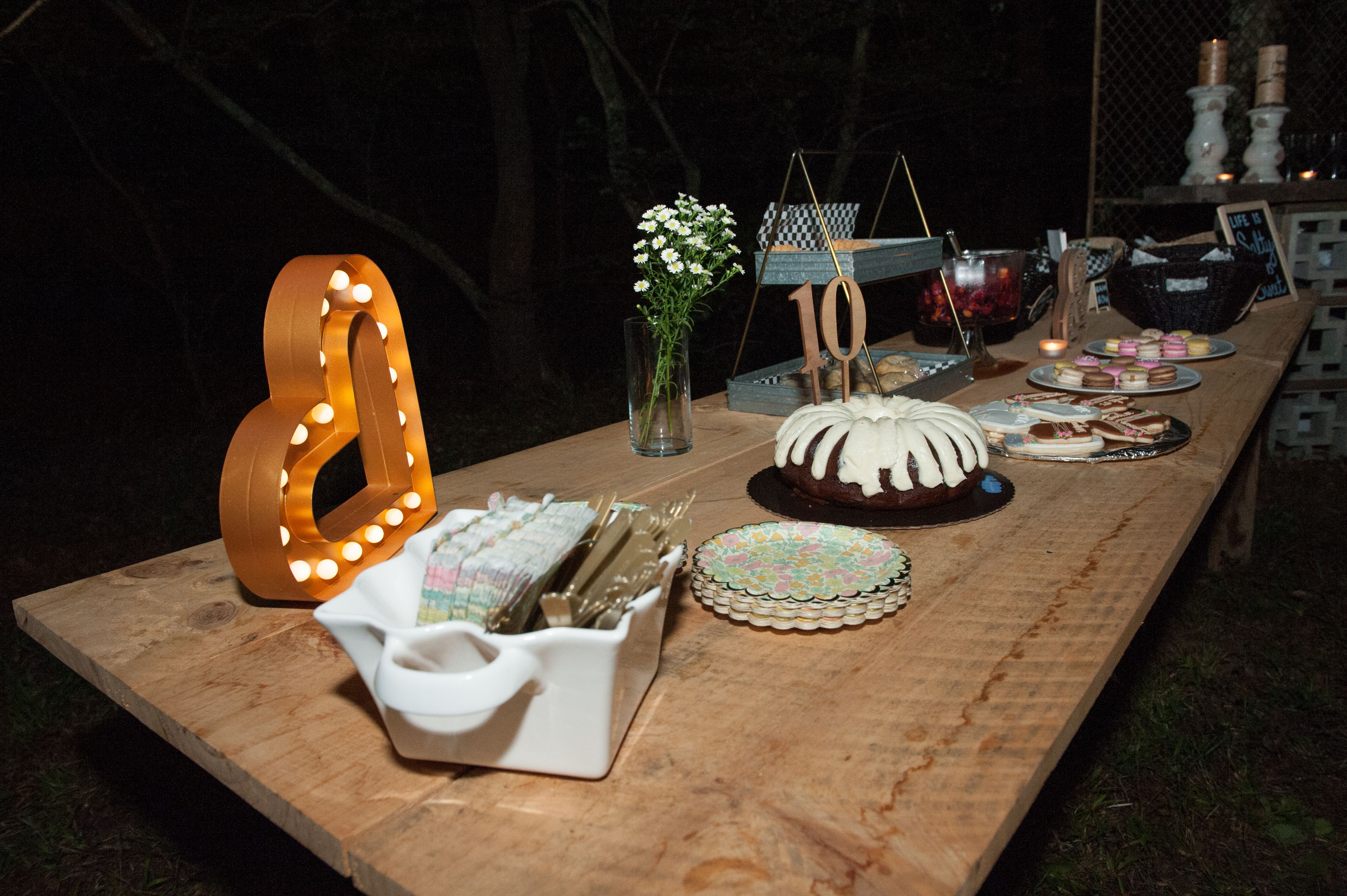 Simple Vow Renewal Dessert Table Rustic Outdoor Wedding Reception Ideas 10 Year In