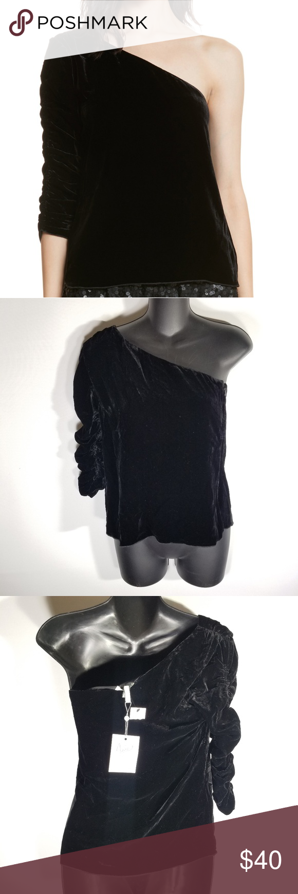 78b0e3c24cd90f NWT Joie Wayman Black Velvet One Shoulder Top New with tags. One shoulder  neckline