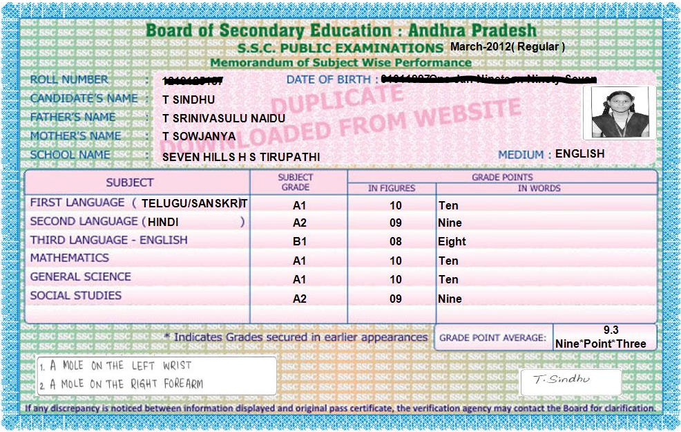 Board Of Secondary Education Andhra Pradesh Ssc Memo duplicate ap ssc marks memo Places to Visit Pinterest 38