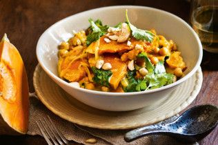 Great vegetarian meal. Pumpkin and chickpea curry.