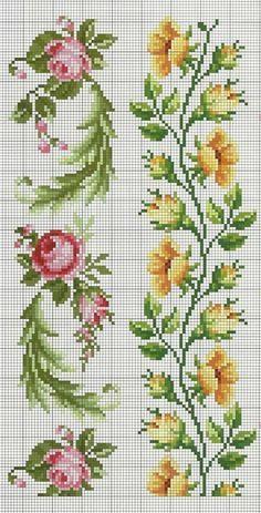 Bordados Punto Cruz Flores Buscar Con Google Rosas A Color