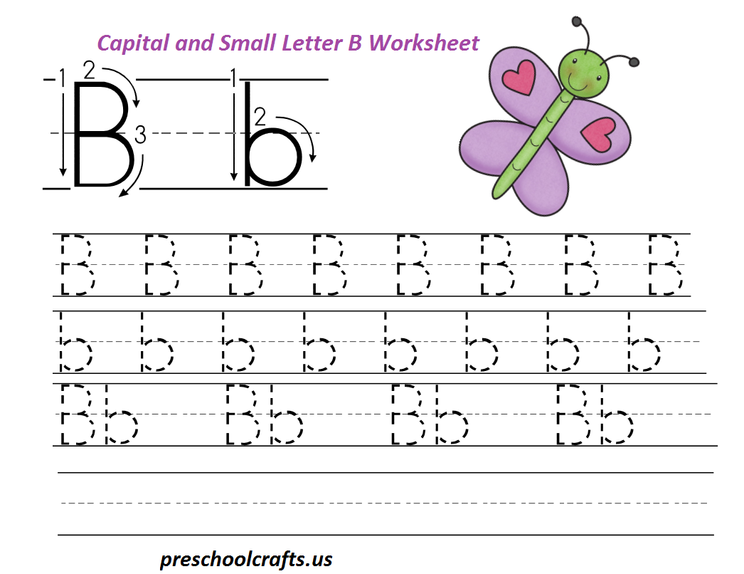 letter b worksheets preschool and kindergarten education handwriting practice letter b. Black Bedroom Furniture Sets. Home Design Ideas