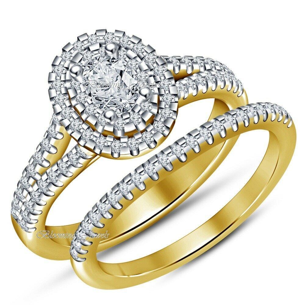 14k Yellow Gold Over VVS1 Oval Diamond Bridal Set Wedding