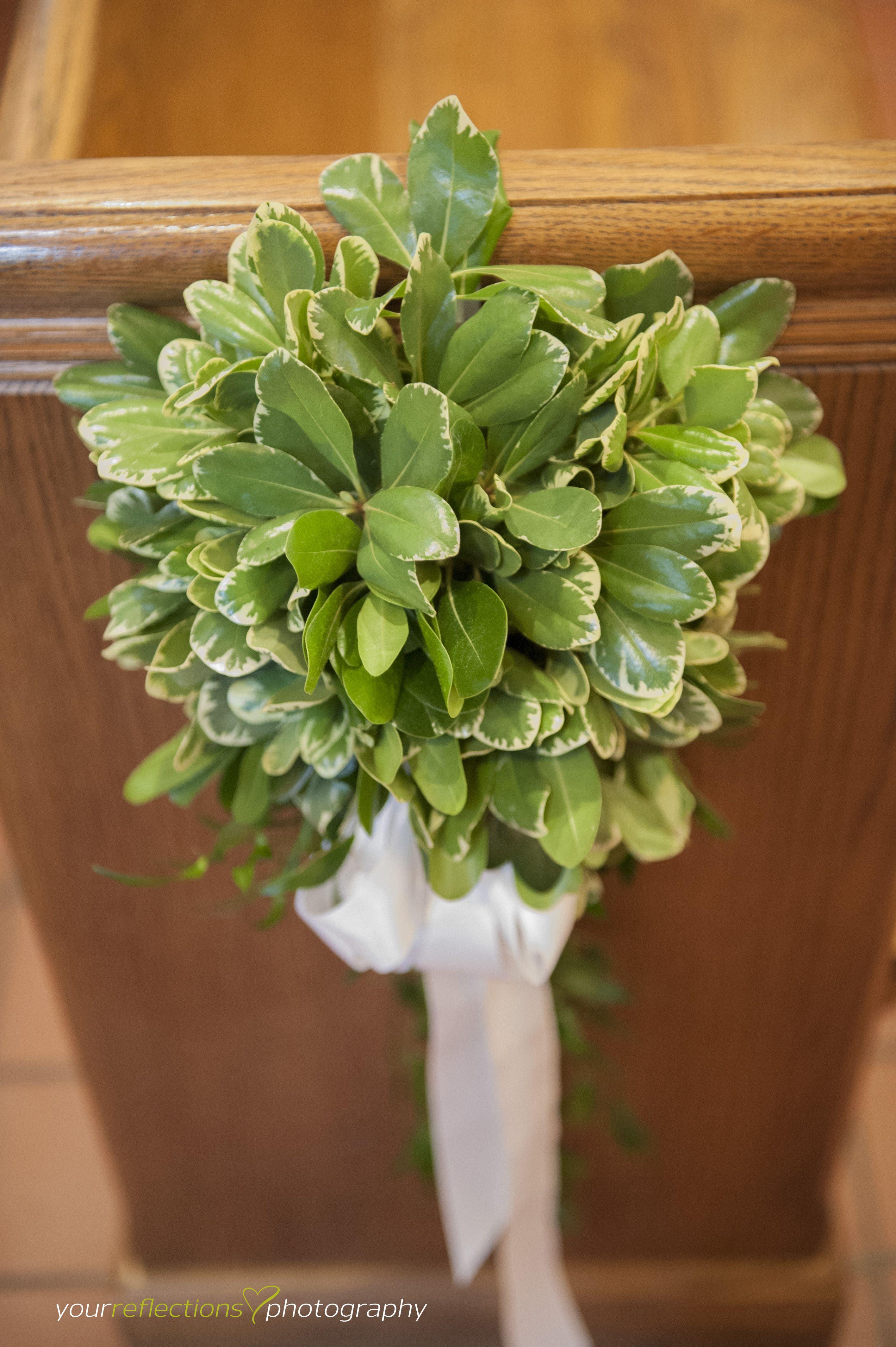 Greenery Pew Marker Green And White White Ribbon Wedding