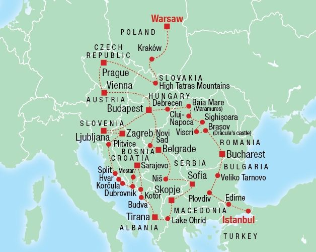 complete eastern europe tour map