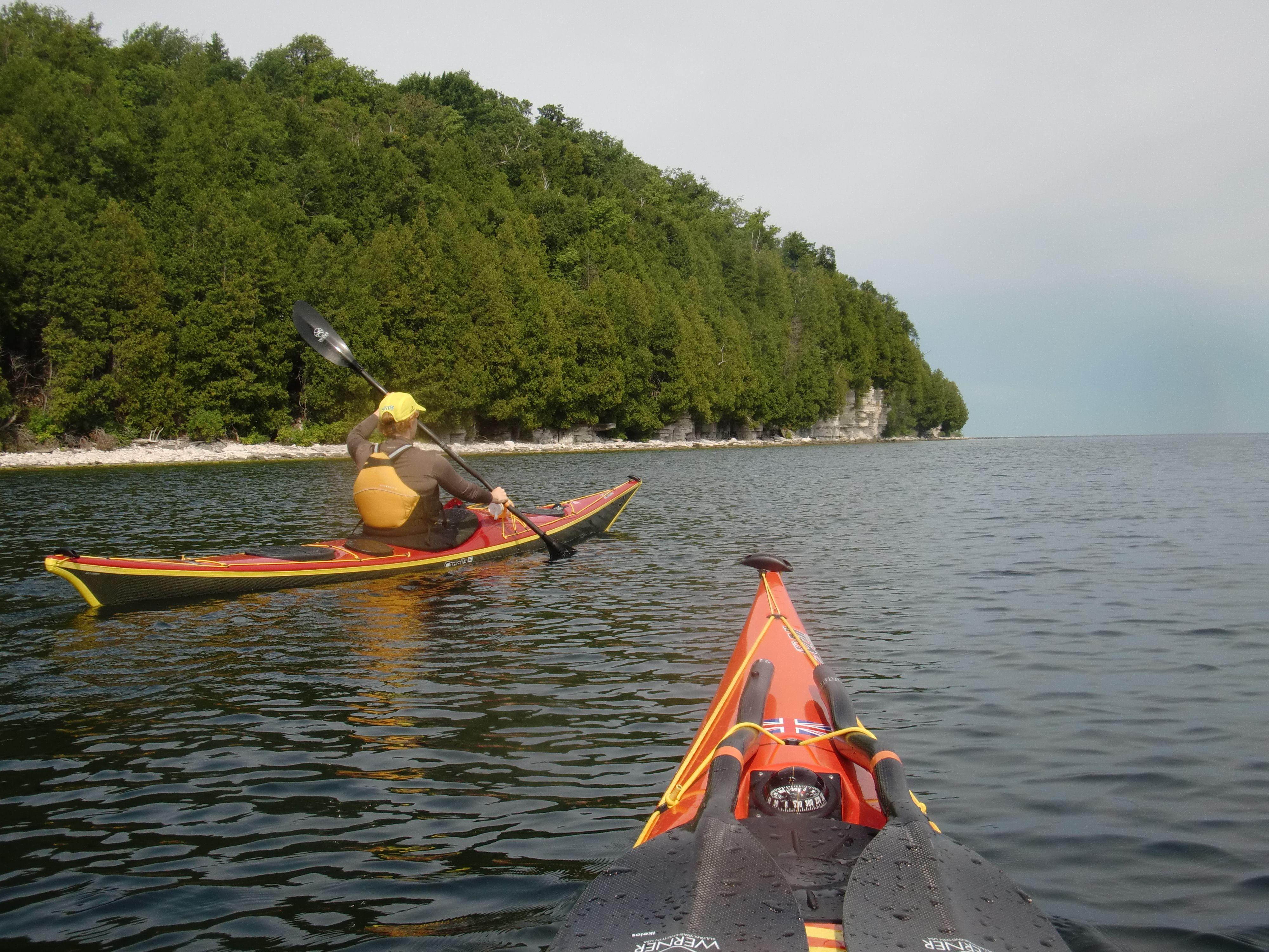 With Wife 1 3 1 On Garrett Bay Door County Wisconsin Sea Kayaking Kayaking Canoe