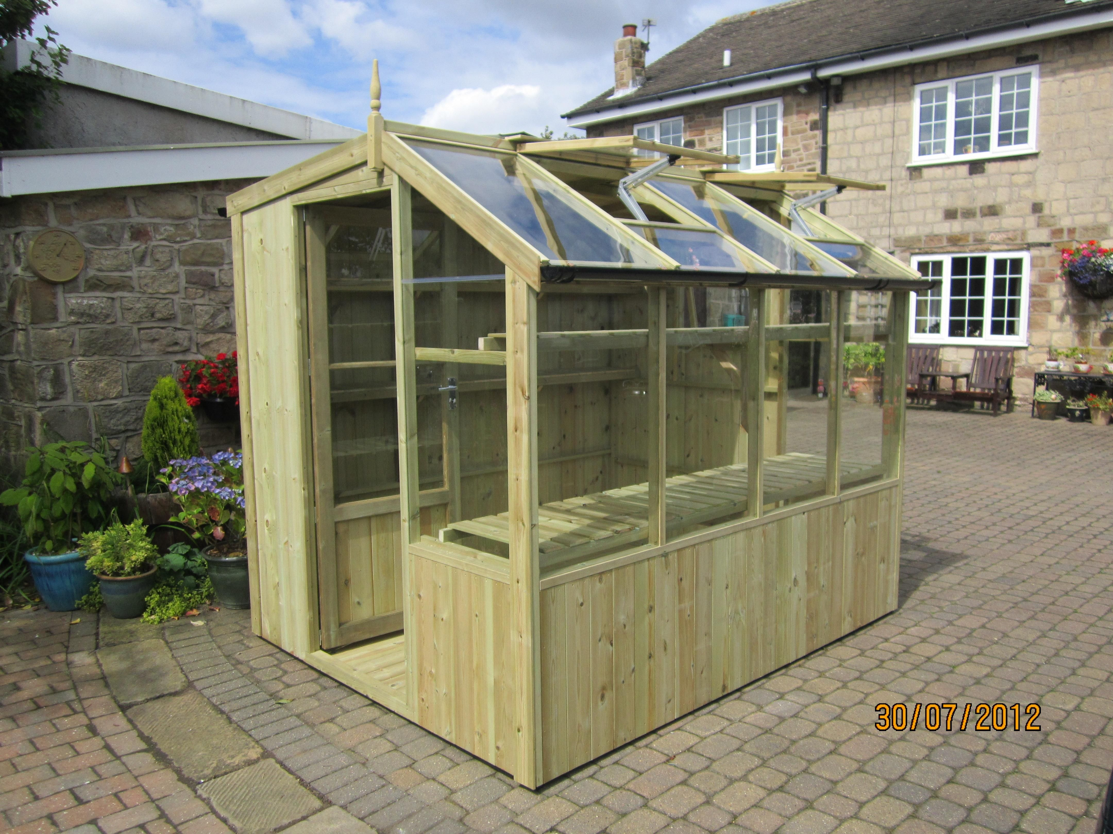 swallow jay 6 x 8 wooden potting shed with toughened glass and automatic roof vents the price of the x jay potting shed includes installation - Garden Sheds With Greenhouse