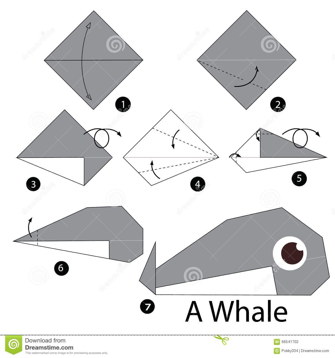 Step Step Instructions How To Make Origami Whale Animal Toy Cartoon