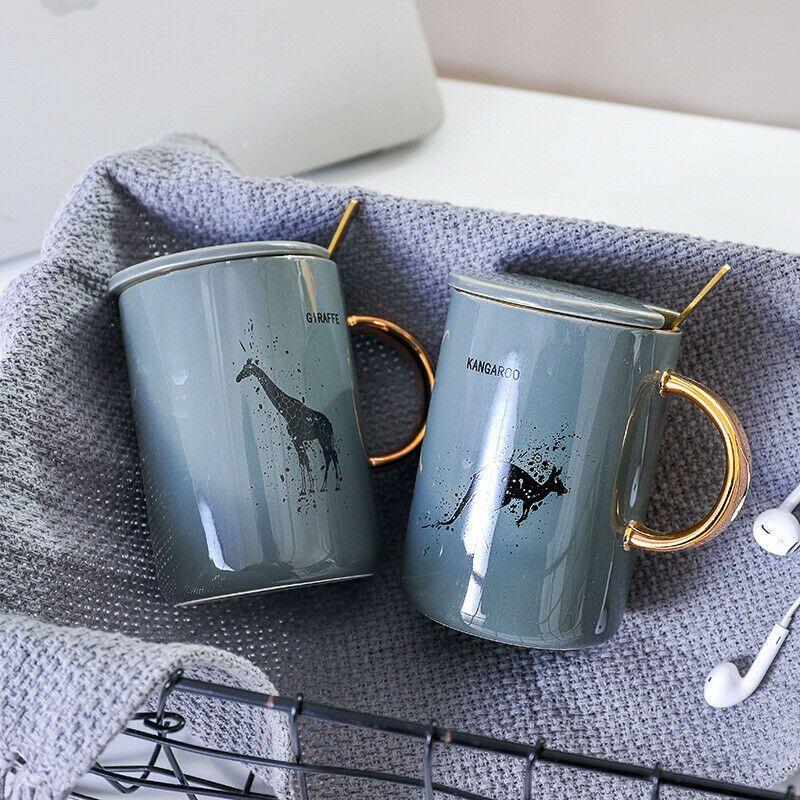 """Animals"" Beautiful Ceramic Mug with Lid Spoon Milk Coffee"