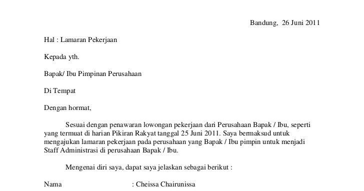 Contoh Surat Lamaran Kerja Umum Contoh Surat Lamaran Kerja Bahasa