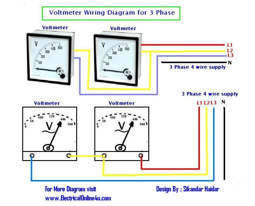 How To Wire Voltmeters For 3 Phase Voltage Measuring Electrical Online 4u Electrical Tutoria Electrical Circuit Diagram Circuit Diagram Electrical Projects