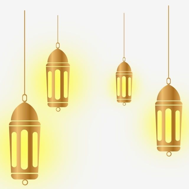 Islam Ramadan Gold Lamp Or Lantern With Light, Ramadan