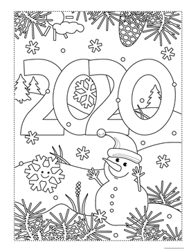 Happy New Year 2020 Coloring Activity Pack