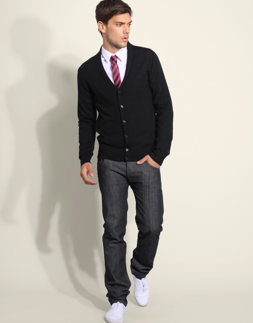 Cardigan with tie | Well dressed men, Dapper men, Mens outfits