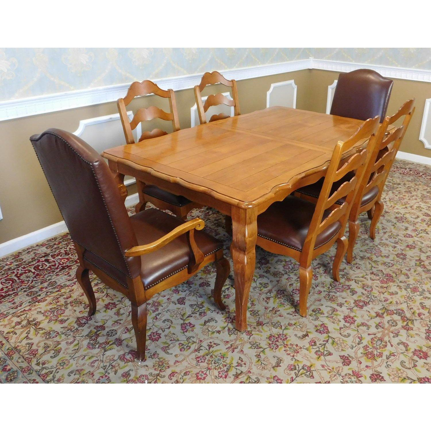 Ethan Allen Legacy Collection Dining Room Table 2 Leaves W 6 Chairs Image Of 11